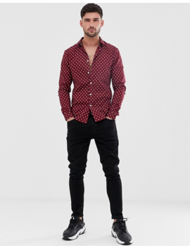 Asos Design Skinny Fit Polka Dot Shirt In Burgundy by Asos Design