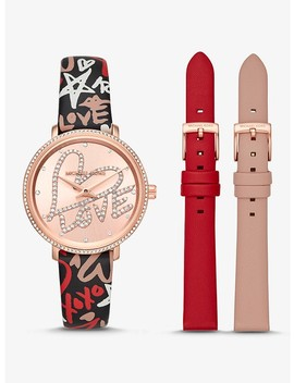 Mini Pyper Rose Gold Tone And Leather Qixi Watch Set by Michael Kors