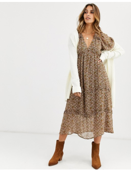 Vero Moda Puff Sleeve Smock Midi Dress In Ditsy Floral Print by Vero Moda