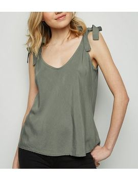 Cameo Rose Khaki Tie Shoulder Cami by New Look