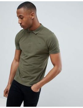 Jack &Amp;Amp; Jones Essentials Slim Fit Pique Logo Polo In Green by Jack &Amp; Jones
