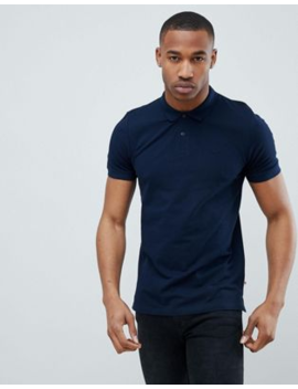 Jack &Amp;Amp; Jones Essentials Slim Fit Pique Logo Polo In Navy by Jack &Amp; Jones
