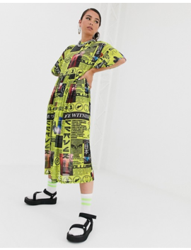 Collusion Media Print Mesh Smock Midi Dress by Collusion