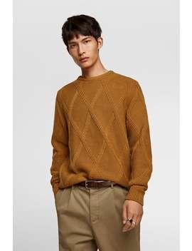 Textured Weave Argyle Sweater New Inman by Zara