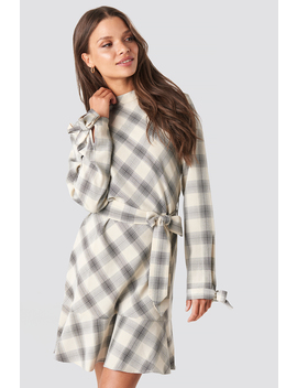Checked Flounce High Neck Dress Beige by Na Kd Trend