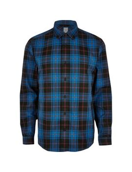 Blue Check Long Sleeve Shirt by River Island
