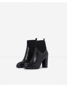 Black Heeled Ankle Boots With Studs by The Kooples