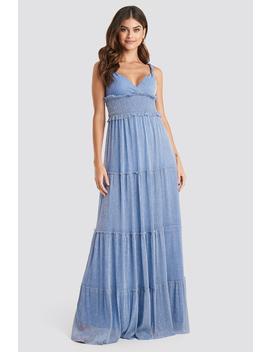Guipure Evening Dress Blå by Trendyol