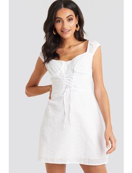 Broiderie Anglais Lace Up Mini Dress Vit by Na Kd Boho