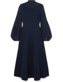 Pleated Wool Midi Dress by Akris