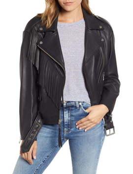 Fringe Leather Moto Jacket by Andrew Marc