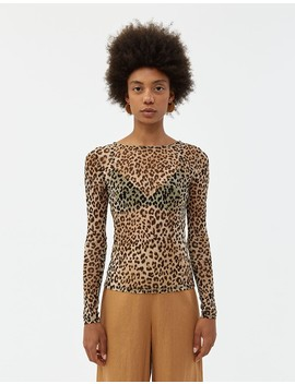 Poppy Mesh Top In Cheetah by Stelen