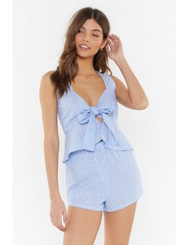 Dot Leaving My Bed Ruffle Tie Pyjama Set by Nasty Gal