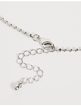 Asos Design Necklace With Red Jewel Pendant And Ball Chain In Silver Tone by Asos Design