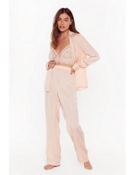 But First Sleep Satin Button Down Pyjama Set by Nasty Gal