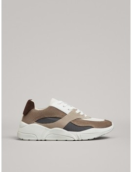 Contrast Trainers With Brown Heel Tab by Massimo Dutti