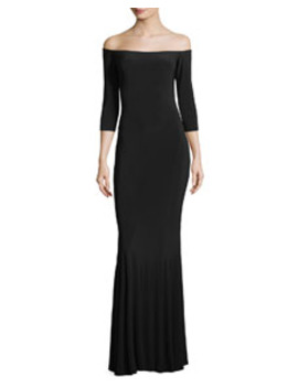Off The Shoulder 3/4 Sleeves Fishtail Evening Gown by Norma Kamali