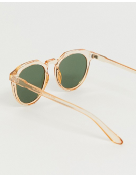 Asos Design Round Sunglasses With Plastic Crystal Orange Frame And Smoke Lenses by Asos Design