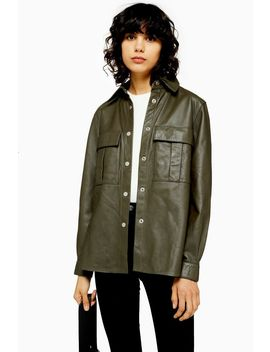 Khaki Leather Shirt by Topshop