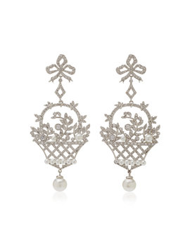 Rhodium, Crystal And Pearl Chandelier Earrings by Fallon