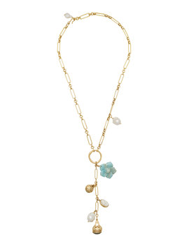 Jubilee 24 K Gold Plated Shell, Crystal And Pearl Necklace by Brinker & Eliza