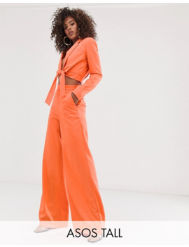 Asos Design Tall Crop Tie Front Suit In Orange by Asos Brand