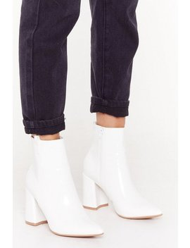 Pointed Patent Flare Heel Ankle Boot by Nasty Gal