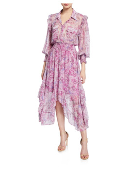 Kaiya Printed Asymmetrical Shirt Dress by Misa Los Angeles