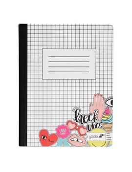 Yoobi, Composition Book, College Ruled, 100 Sheets, Bw Grid Partial Stickers   Multicolor by Yoobi