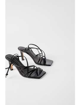 SandÁlia De TacÃo De Pele Com Ponta Quadrada Ver Tudo Sapatos Mulher by Zara