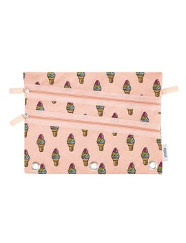 Yoobi, Binder Zip Case, Triple Zip, Ice Cream Repeat   Peach by Yoobi