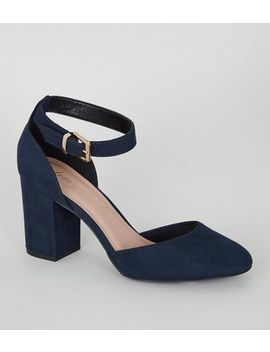 Navy Suedette Round Toe Court Shoes by New Look
