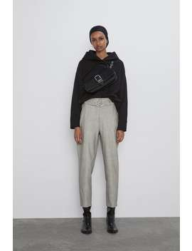 Faux Leather Trousers With Belt New Inwoman by Zara
