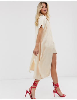 In The Style X Fashion Influx Short Sleeve Midi Shirt In Cream by In The Style