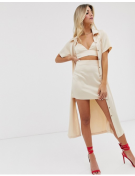 In The Style X Fashion Influx Satin Crop Top In Cream by In The Style