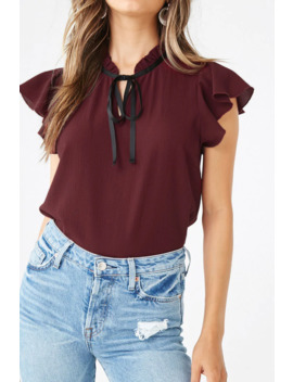 Crepe Pussycat Bow Top by Forever 21