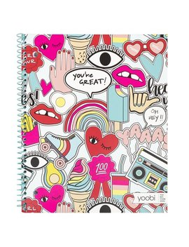"Yoobi, Notebook, 1 Subject, Spiral, Paper Cover, 9"" X 11"", College Ruled, 100 Sheets   Jumbo Multicolor Doodle by Yoobi"