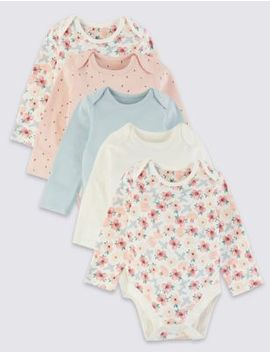 5 Pack Organic Cotton Patterned Bodysuits by Marks & Spencer