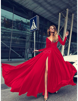 Robe Longue Femmes Rouge Manches Longues Col V Boutons Robe Formelle Fendue by Milanoo