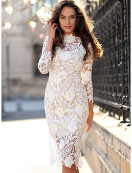 robe-blanche-en-dentelle-à-manches-trois-quarts by milanoo