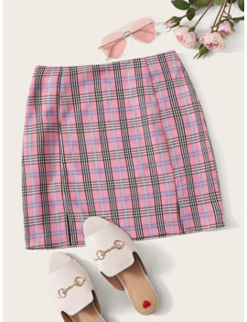 SheinM Slit Tartan Print Skirt by Shein