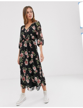 New Look Floral Maxi Dress In Black by New Look