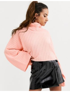 Pretty Little Thing High Neck Jumper In Peach by Pretty Little Thing