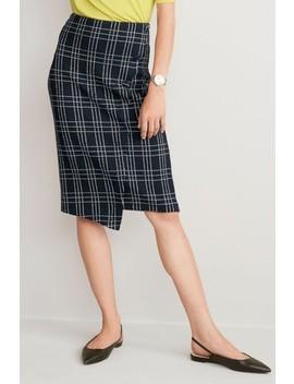 Navy Grid Jacquard Button Skirt by Next