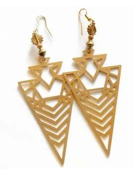 Sacred Triangle Earrings (Gold), Panther Inspired Earrings, Super Hero Earrings, Art Deco Drop Earrings, African Queen Earrings by Etsy