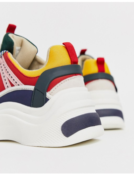 Stradivarius Contrast Panel Chunky Trainers In Multi by Stradivarius