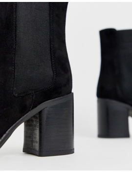 Asos Design Reverse Suede Square Toe Chelsea Boots In Black by Asos Design