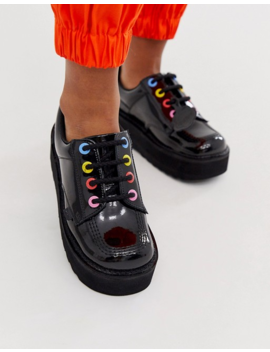 Kickers Kick Lo Stack Black Leather Patent Flat Shoes With Multi Colour Eyelets by Kickers