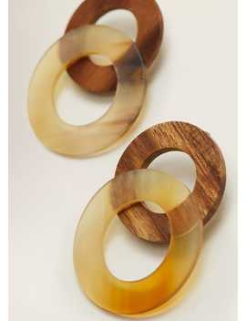 Wood Hoop Earrings by Mango