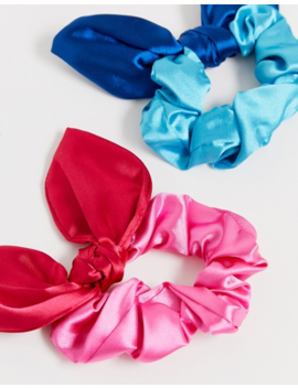 Asos Design Pack Of 2 Bow Scrunchie In Two Tone Colours by Asos Design